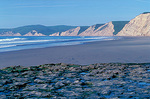 Low tide and tide pools by Drakes Beach at Point Reyes National Seashore.