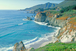 Crystal-blue waters and the Santa Lucia Mountain range, along Highway 1, by the rugged Big Sur coast.