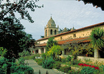 Carmel Mission and garden, in the city of Carmel, a part of the scenic Monterey Peninsula.