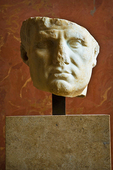 Marble bust of Vipsanius Agrippa - the Roman leader - in the Louvre Museum.