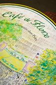 Cafe table of the Cafe de Flore, in the St-Germaine-de-Pres quartier.