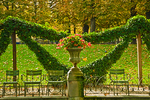 Autumn leaves fall to the ground by the Luxembourg Garden's Medicis Fountain.