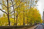 A young couple - framed by autumnal foliage - walk the length of Quai d'Orleans, on the Ile St-Louis.