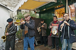 "This quintet of Frenchmen play ""musique à Dixie"" by the stalls of St. Germaine's Xmas market."