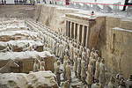 Emperor Qin's Terra-cotta Army solders at Terracotta Museum in Xian, China