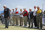 U.S. Marine Corps and Navy survivors of the WWII battle of Iwo Jima pay their respects to their fallen comrades at the Reunion of Honor on Iwo Jima.
