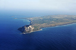 Aerial view of the island of Iwo Jima with Mt. Surbachi in the lower left corner. Site of famous WWII battle between the US Marine Corps and Japanese.