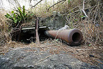 Japanses naval gun on Mt.Surbachi that was destroyed by U.S. Naval gunfire during the battle of Iwo Jima in WWII.