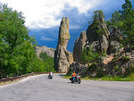 Harley riders during the Sturgis Motorcycle rally ride through Custer State Park in South Dakota.