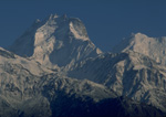 Sunrise on Somtahng Peak,6900 meters high, nestled in the Lang Tang Re range on the Tibet/Nepal border