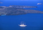 Windjammmer entering the port of Thira, Santorini Greece