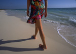 Morning beachcomber strolls near Playa de Carmen