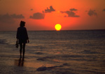 Beachcomber strolls the Cozumel beach front at sunset