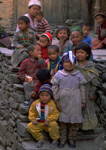 Children of the Nepalese village of Dhunche north of Kathmandu pose