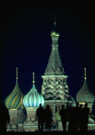 Night visitors to Moscow's St. Basil's at Red Square