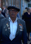 A retired decorated war veteran proudly wears his honor at the Saburtalinski  Market in Tbilisi in the Republic of Georgia