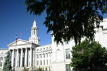 Denver Colorado's city and county building in downtown Denver can be seen from Civic Center Plaza  near the state capitol.