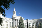 Denver Colorado\'s city and county building in downtown Denver can be seen from Civic Center Plaza near the state capitol.