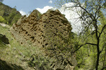 Tuffs or eroded mounds of volcanic ash adjacent to the trail to the Upper Falls in Frijoles Canyon