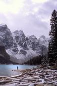 Lone man at Moraine Lake, Banff National Park, Alberta, Canada