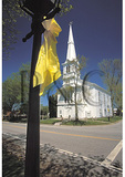 Yellow ribbons and church in Little Compton Commons, Rhode Island