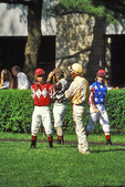 Jockeys prerace at Keeneland Race Course, Lexington, Kentucky  -  This image is cropped to show 70% of the original 35mm slide.