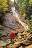 Hiker at Ripley Falls, Crawford Notch State Park, New Hampshire