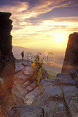 Hiker at Sunset on Humpback Rocks, Blue Ridge Parkway, Virginia