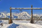 Mt. Moran Through Ranch Gate, Grand Teton National Park, Wyoming