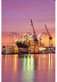 Dusk over Dry Docks, Chesapeake, Virginia