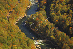 Rafters on the New River, Seen from Endless Wall Trail, New River Gorge National River, West Virginia