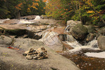 Kern and Waterfall on Cascade Brook, Beside Cascades-Basin Trail, Appalachain Trail, Lincoln, New Hampshire