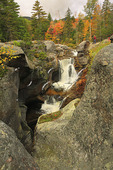 Hiker at Screw Auger Falls, Grafton Notch State Park, Newry, White Mountains, Maine