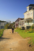 Woman Walking Two Dogs in Monhegan, Monhegan Island, Maine
