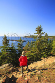 Hiker on Great Head, Great Head Trail, Acadia National Park, Maine
