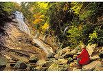 Hiker at Ripley Falls, Crawford Notch State Park, New Hampshire
