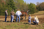Spectators watch farmer with mules plowing field at Spring Planting Festival, Lora Blevins Homesite, Bandy Creek Area, Big South Fork National River and Recreation Area, Oneida, TN