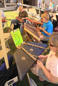 Dulcimer players entertain at Spring Planting Festival, Bandy Creek Visitor Center, Big South Fork National River and Recreation Area, Oneida, Tennessee
