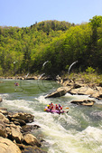 Rafters maneuver through the O & W Rapids, Cumberland River, Big South Fork National River and Recreation Area, Oneida, Tennessee