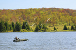 Fisherman in boat on Spruce Knob Lake, Spruce Knob-Seneca Rocks National Recreation Area, Monongahela National Forest, Judy Gap, West Virginia