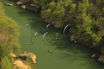 Devil's Jump Overlook, canoers and kayakers on Cumberland River, Big South Fork National River and Recreation Area, Kentucky