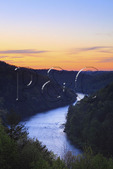 Sunrise, Cumberland River Gorge view from terrace of Dupont Lodge in Cumberland Falls State Resort Park, Corbin, Kentucky