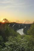 Sunrise, Cumberland River Gorge from terrace of Dupont Lodge in Cumberland Falls State Resort Park, Corbin, Kentucky