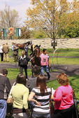 Spectators watch as thoroughbreds are walked in the paddock before a race, Keeneland Race Course, Lexington, Kentucky