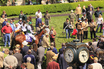 Spectators watch jockeys mount up in the paddock before a race, Keeneland Race Course, Lexington, Kentucky