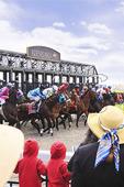 Spectators watch thoroughbreds leave starting gate, Spring horse races, Keeneland Race Course, Lexington, Kentucky