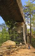 Hikers on trail at bottom of the Natural Bridge, Natural Bridge State Resort Park, Slade, Kentucky