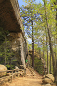 Hiker climbs steps to top of the Natural Bridge, Natural Bridge State Resort Park, Slade, Kentucky