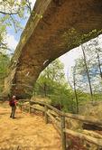 Hiker on trail at bottom of the Natural Bridge, Natural Bridge State Resort Park, Slade, Kentucky