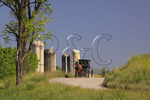 Mennonite buggy on road near Dayton in Shenandoah Valley, Virginia